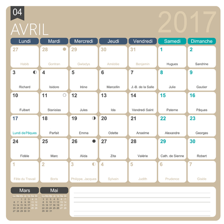 lunar phases: April 2017, French printable monthly calendar template, including name days, lunar phases  and official holidays. Illustration