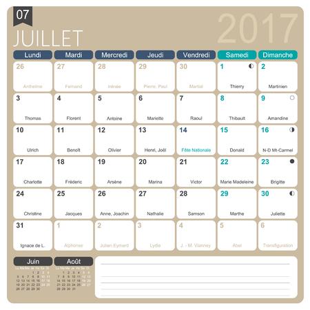 calendario julio: De julio de 2017, la plantilla de impresión mensual francesa calendario, incluyendo días conocidos, fases lunares y los días festivos oficiales.