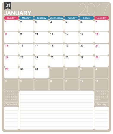 printable: January 2017, English printable monthly calendar template, week starts on Sunday