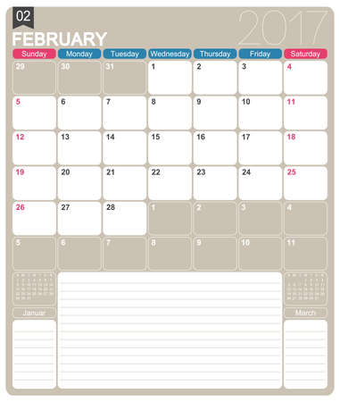 organizer: February 2017, English printable monthly calendar template, week starts on Sunday.