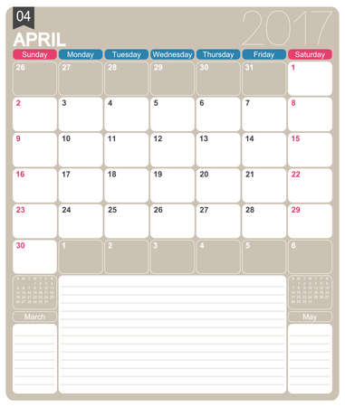 realize: April 2017, English printable monthly calendar template, week starts on Sunday.