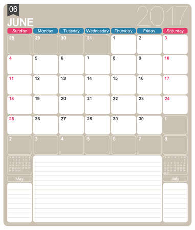 realize: June 2017, English printable monthly calendar template, week starts on Sunday.