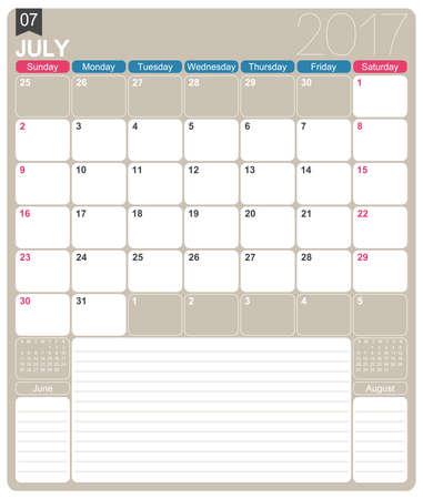 calendario julio: De julio de 2017, plantilla de calendario mensual imprimible Inglés, la semana comienza el domingo.