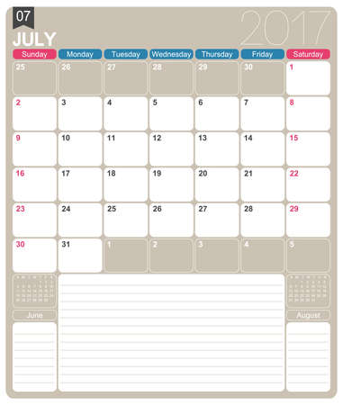 july calendar: July 2017, English printable monthly calendar template, week starts on Sunday. Illustration