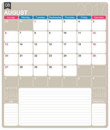 printable: August 2017, English printable monthly calendar template, week starts on Sunday.