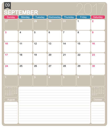 September 2017, English printable monthly calendar template, week starts on Sunday. Illustration