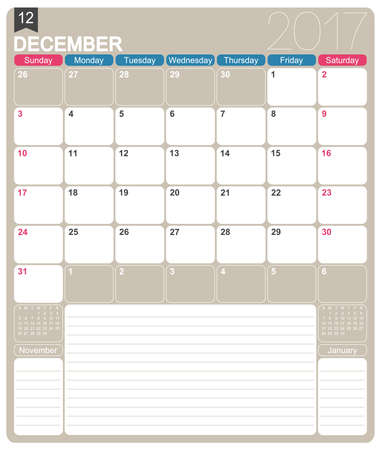 printable: December 2017, English printable monthly calendar template, week starts on Sunday. Illustration