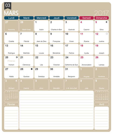 lunar phases: March 2017, French printable monthly calendar template, including name days, lunar phases and official holidays.