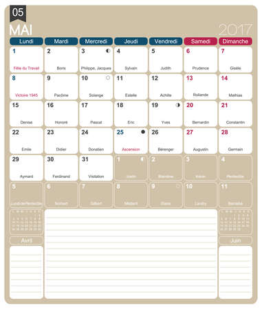 months: May 2017, French printable monthly calendar template, including name days, lunar phases and official holidays.