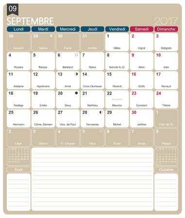 calendario escolar: De septiembre de 2017, la plantilla de impresión mensual francesa calendario, incluyendo días conocidos, fases lunares y los días festivos oficiales.