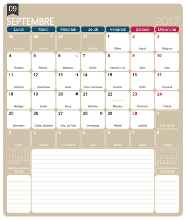 September 2017 French Printable Monthly Calendar Template