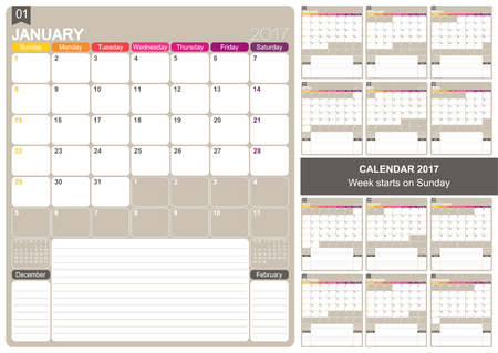 calender: English printable monthly calendar template, set of 12 months January - December, week starts on Sunday.