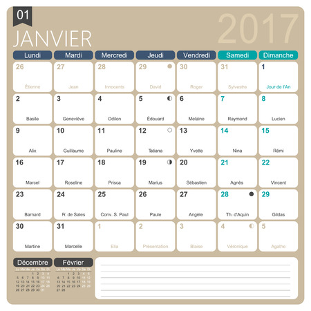 Janvier 2017 french printable monthly calendar template janvier 2017 french printable monthly calendar template including name days lunar phases and pronofoot35fo Choice Image