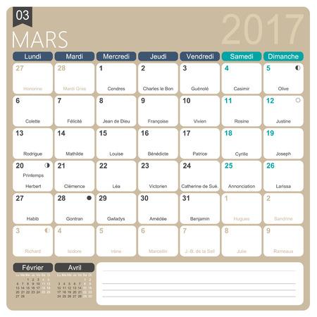 Calendario Frances.Mars 2017 Plantilla Mensual Imprimible Frances Calendario Incluyendo Dias Conocidos Fases Lunares Y Los Dias Festivos Oficiales