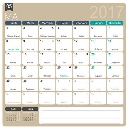 realize: Mai 2017, French printable monthly calendar template, including name days, lunar phases and official holidays.