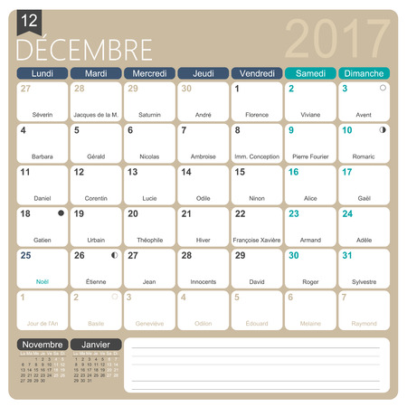 December 2017, French printable monthly calendar template, including name days, lunar phases and official holidays. Ilustrace