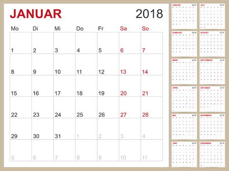 French Calendar Template For Year  Set Of  Months Week
