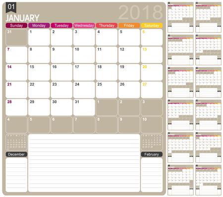 Calendar 2018 Illustration
