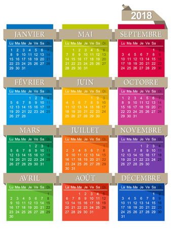 French calendar for year 2018, week starts on Monday