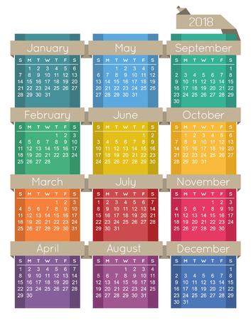 English calendar for year 2018, week starts on Sunday