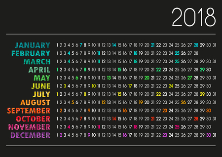English calendar for year 2018