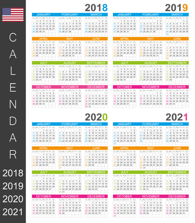 English calendar template for years 2018, 2019, 2020, 2021, week starts on Sunday.