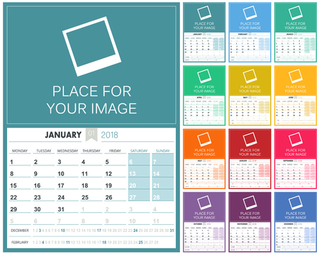 English Calendar 2018  planning calendar template 2018 set of 12 months January - December, week starts on Monday, colorful calendar template, vector illustration Çizim