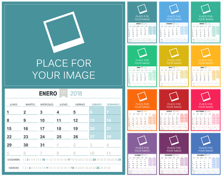 Spanish Calendar 20182018 planning calendar template, set of 12 months January - December, week starts on Monday, colorful calendar template, vector illustration Illustration