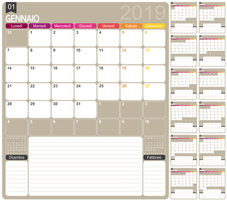 Italian calendar template for year 2019, set of 12 months, week starts on Monday, printable calendar templates Ilustrace