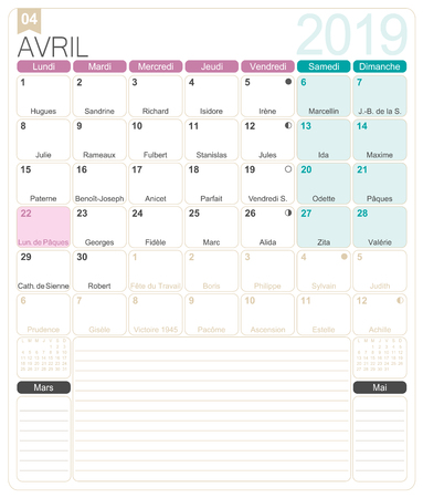 French calendar 2019  April 2019, French printable monthly calendar template, including name days, lunar phases and official holidays.
