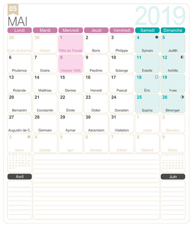 French calendar 2019  May 2019, French printable monthly calendar template, including name days, lunar phases and official holidays.