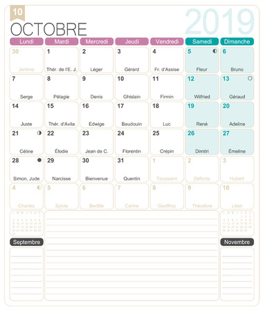 French calendar 2019  October 2019, French printable monthly calendar template, including name days, lunar phases and official holidays.