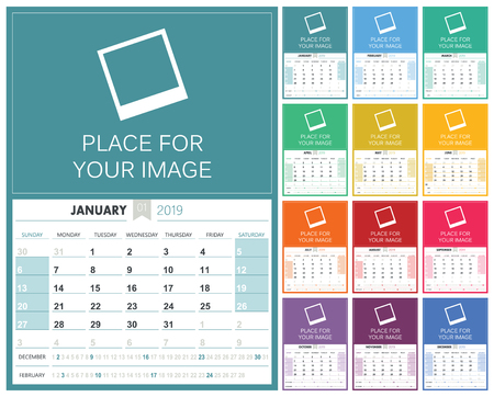English planning calendar 2019, week starts on Sunday, colorful calendar template with place for your image, vector illustration