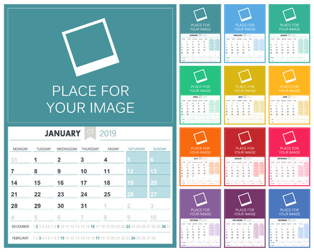 English planning calendar 2019, week starts on Monday, colorful calendar template with place for your image, vector illustration