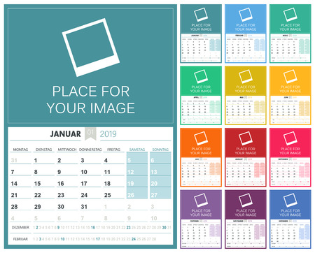 German planning calendar 2019, week starts on Monday, colorful calendar template with place for your image, vector illustration