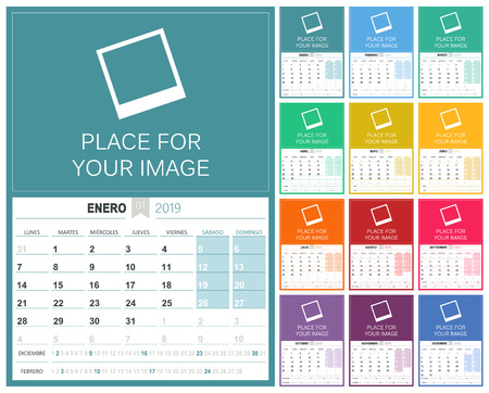Spanish planning calendar 2019, week starts on Monday, colorful calendar template with place for your image, vector illustration
