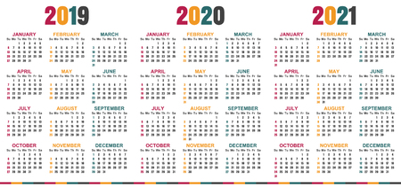 English calendar 2019 - 2021, week starts on Sunday, simple calendar template for 2019, 2020 and 2021, printable calendar templates, vector illustration
