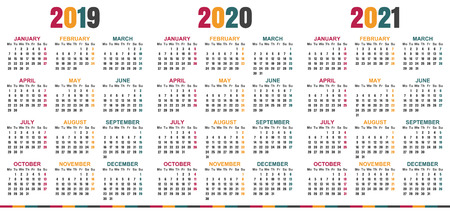 English calendar 2019 - 2021, week starts on Monday, simple calendar template for 2019, 2020 and 2021, printable calendar templates, vector illustration