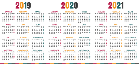 German calendar 2019 - 2021, week starts on Monday, simple calendar template for 2019, 2020 and 2021, printable calendar templates, vector illustration