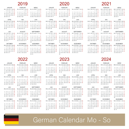German calendar 2019 - 2024, week starts on Monday, simple calendar template for 2019, 2020, 2021, 2022, 2023 and 2024, printable calendar templates, vector illustration