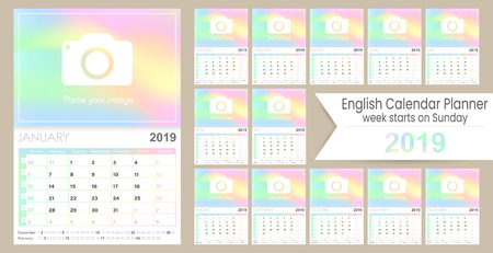 English Calendar 2019  English Calendar Planner 2019, Week of January, December, calendar of template size A4, simple holographic design, set calendar calendar template, vector illustration
