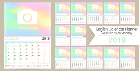 English calendar 2019  English calendar planner 2019, week of Monday, set of 12 months January - December, calendar template size A4, simple holographic design, set desk calendar template, vector illustration Ilustrace