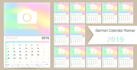 German calendar 2019  German calendar planner 2019, week starts on Monday, set of 12 months January - December, calendar template size A4, simple holographic design, set desk calendar template, vector illustration Ilustrace
