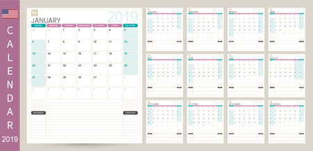 English Calendar 2019  English Calendar Planner 2019, Week of Sunday, Set of 12 months January - December, simple calendar template, set desk calendar template, vector illustration