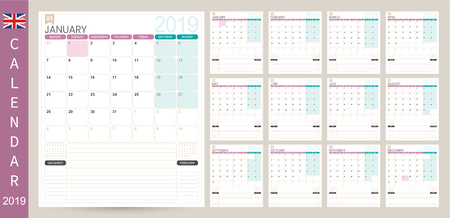 English calendar 2019  English calendar planner 2019, week starts on Monday, set of 12 months January - December, simple calendar template, set desk calendar template, vector illustration Ilustrace