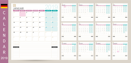 German calendar 2019  German calendar planner 2019, week starts on Monday, set of 12 months January - December, simple calendar template, set desk calendar template, vector illustration
