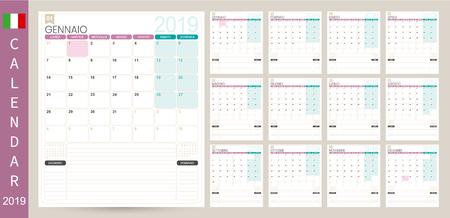 Italian calendar 2019  Italian calendar planner 2019, week starts on Monday, set of 12 months January - December, simple calendar template, set desk calendar template, vector illustration