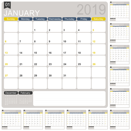 English calendar template for year 2019, set of 12 months, week starts on Sunday, printable calendar template, calendar planner 2019, vector illustration