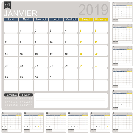 Französische Kalendervorlage für das Jahr 2019, Satz von 12 Monaten, Woche beginnt am Montag, druckbare Kalendervorlage, Kalenderplaner 2019, Vektorillustration