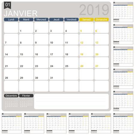 Modello di calendario francese per l'anno 2019, set di 12 mesi, inizio di settimana lunedì, modello di calendario stampabile, pianificatore di calendario 2019, illustrazione vettoriale